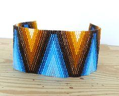 Multi Colored Beaded Cuff Bracelet Native American Beadwork Chevron Pattern Bead Weaving Southwestern Jewelry