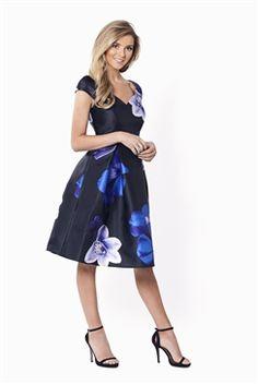 5403107bac4 Sistaglam Radley Bardot All Over Floral Print Dress Navy Skater Dress
