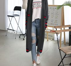 Stripe-Trim Long Cardigan