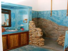 Stunning Blue Bathroom Design with Natural Rock Idea, Bath Room Styles Nature Designs, Bathroom Color Ideas, Bathroom Gallery Color Scheme Bathroom Color Schemes, Bathroom Colors, Bathroom Ideas, Blue Bathrooms Designs, Natural Bathroom, Bathroom Gallery, Outdoor Bathrooms, Guest Bath, Bathroom Interior
