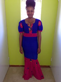 Tsonga attire.traditional wear African Outfits, Printing On Fabric, Wedding Ideas, Culture, Traditional, Summer Dresses, Modern, How To Wear, Closet