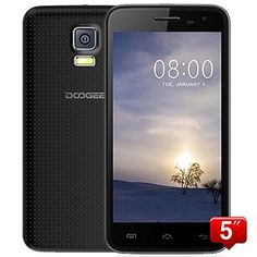 """DOOGEE VOYAGER2 DG310 5"""" IPS FWVGA Screen MTK6582 1.3GHz Quad core Quadband Dual SIM Dual Standby Anroid4.4 RAM 1G ROM 8G Cellphone Mobile Phone 3G Phone Smartphone with Smart Wake WiFi 5.0MP 13.0MP Camera GPS Bluetooth 4.0 (Black)"""