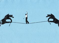 Stock Illustration : Businessman walking tightrope on string between two hands