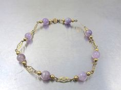 Gold Amethyst Bead Bracelet 12K Yellow Gold by TonettesTreasures