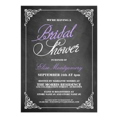 Little bit of purple?  Trendy Chalkboard Bridal Shower Invitations