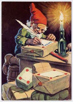 This is a postcard of an elf which I received from Sweden. The reverse of the postcard states 'God Jul Gott Nytt Ar' which translates as 'Merry Christmas and a Happy New Year'.