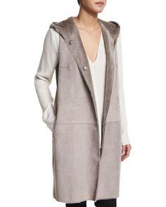 Malriz Ryder Shearling Fur Vest, Women's, Size: MEDIUM, Heather Gray - Theory