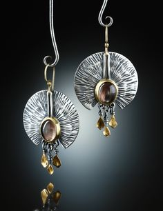 Oregon Sunstone Earrings. Fabricated Sterling Silver, 14k and 18k. www.amybuettner.com