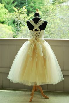 50's inspired Tulle Tea length wedding dress--Make to measurement. $255.00, via Etsy.