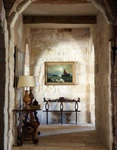 how to make the inside of your house look like old french house with stone walls - Google Search
