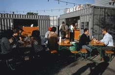 Pop up shops in old shipping containers in Hayes Valley SF by proxysf.