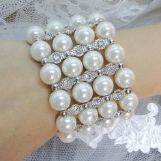 Wedding ivory Pearl Bracelet Bangle Bridal Bracelet  by Annamall, $22.99