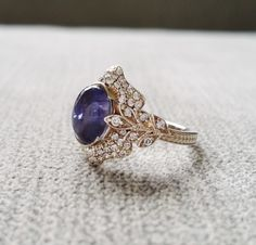 """Antique Iolite Diamond Ring Gemstone Engagement Ring Violet Cabochon Leaf Estate Norwegian Viking Compass Oval 14K White Gold """"The Edith"""" by PenelliBelle on Etsy"""