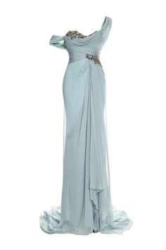 Shop One Shouldered Chiffon Gown With Embroidered Bodice And Drape Detail. This sea glass chiffon **Marchesa** gown features a draped, one-shoulder bodice with metallic embroidery and a layered skirt that forms a small train at back. Beautiful Gowns, Beautiful Outfits, Elegant Dresses, Pretty Dresses, Bridesmaid Dresses, Prom Dresses, Wedding Dresses, Marchesa Gowns, Chiffon Gown