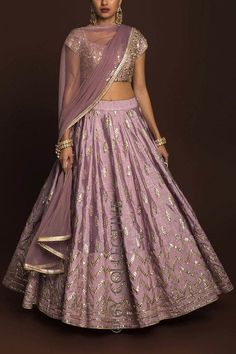 Dusky Orchid gotawork lehenga paired with mirror work blouse (unstitched) and sheer net dupatta. Indian Wedding Gowns, Pakistani Wedding Outfits, Bridal Outfits, Indian Dresses, Indian Outfits, Gown Wedding, Choli Designs, Lehenga Designs, Indian Attire