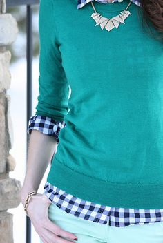 Winter greens. Blue gingham shirt with mint corduroys.