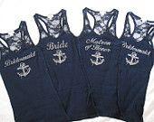 1 Nautical Bridemaid Tank Top Shirt. Half Lace. Bride, Maid of Honor, Matron of Honor. Destination Beach Wedding. Navy Blue, White. $20.00, via Etsy.