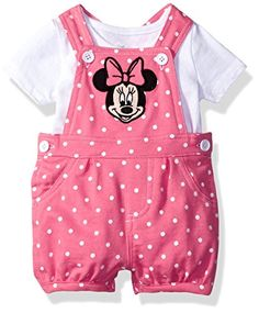 Baby Girl Clothes Disney Baby Girls' Minnie Mouse Shortall and T-Shirt Set, White, Luxury Baby Clothes, Disney Baby Clothes, Cute Baby Clothes, Disney Outfits, Baby Disney, Boy Outfits, Baby Girl Shoes, Baby Girl Dresses, Toddler Fashion