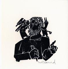 Detlef Willand – Selbst mit Engel und Teufel; Holzschnitt