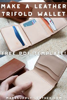 - Make A Leather Tri-Fold Wallet Want to make a leather tri-fold wall. Diy Leather Wallet Pattern, Wallet Sewing Pattern, Leather Tutorial, Handmade Leather Wallet, Sewing Leather, Leather Pattern, Diy Leather Projects, Leather Diy Crafts, Leather Bracelets