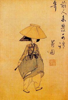 "treebystream: "" Woman with a red hat (jeonmo). Painted by Shin Yun-bok, Joseon period, Korea "" Korean Painting, Japanese Painting, Chinese Painting, Chinese Art, Korean Traditional, Traditional Art, Monochromatic Paintings, Asian Image, Art Chinois"