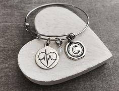 Heartbeat, EKG, ECG, Practitioner, cna,np, rn, Jewelry, Graduation, Grad, Nurse Jewelry, Silver Bracelet, Charm Bracelet, Silver Jewelry by SAjolie, $24.95 USD