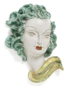 Art Deco Pottery Bust By Goldscheider Morgan Strickland