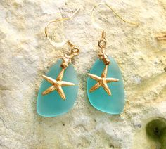DIY kit sea beach frosted glass blue bead earrings / pendant necklace brass star fish recycled. $6.00, via Etsy.