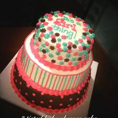 3 tiered baby girl shower cake.