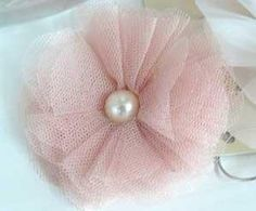 tulle flower diy | Jeannie Mae Wedding Stationery :: Antique Pink Tulle Brooch and Clip