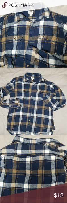 Mens plaid flannel button down Cozy flannel button down. Men's top - I'm a woman and I wore it with jeans and leggings.  Blue white and subtle orange. Sonoma Shirts Casual Button Down Shirts