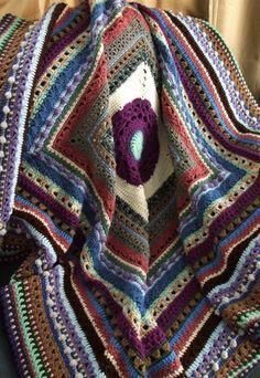 Stitch Sampler Afghan in Scraps - Crocheted Throw Blanket