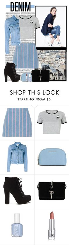 """""""Double Denim"""" by polybaby ❤ liked on Polyvore featuring J.Crew, T By Alexander Wang, WithChic, Acne Studios, MICHAEL Michael Kors, Cesare Paciotti and Denimondenim"""