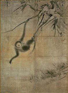 One of two hanging scrolls, Old Trees and Monkeys. Important Cultural Property of Japan. Ryusen-an Temple, Kyoto Zen Painting, Japanese Painting, Chinese Painting, Monkey Illustration, Japan Illustration, Zoo 2, Jungle Art, Monkey Art, Old Trees