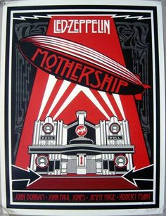 Zeppelin Mothership - The Giant: The Definitive Obey Giant Site Led Zeppelin Concert, Led Zeppelin Poster, Led Zeppelin I, Iron Maiden, The Beatles, Shepard Fairey Art, Obey Art, Rock Band Posters, John Paul Jones