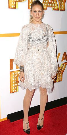 "SARAH JESSICA PARKER She's often the queen of the out-there red carpet attire, but to play supportive wife to Matthew Broderick at the N.Y.C. premiere of It's Only a Play, the star stays relatively subdued in a lacy Elie Saab dress worn with a black bra, layers of bangles and her own ""Carrie"" shoe design."