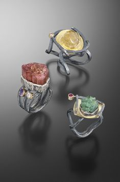 "RICHARD AND BETH ELKIN-USA ""Richard Elkin is a bench jeweler and designer. His creative background in design and fabrication dates back to 1978 and encompasses training in metalsmithing, jewelry fabrication, ceramic arts and sculpture. He has extensive experience as an Arts Educator. Beth Elkin is a self-taught jeweler and designer. She has studied at The League of New Hampshire Craftsman and Dartmouth College. Beth's designs focus on traditional mokume gane. """