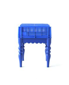 common household plastic objects - storage and laundry baskets- are combined with stereotypical upper class chair bases