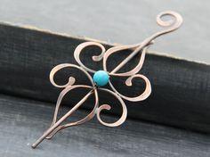 Shawl pin, hair slide, hair barrette, sweater pin, copper and turquoise howlite hair pin, elegant, oxidized, swirls, blue, hair accesories