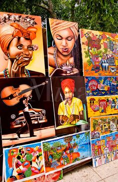 Artists artwork paintings at open air market in Havana Cuba Habana