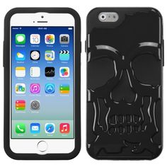 Insten Stylish Skullcap PC Soft Silicone Hybrid Phone Case Cover for Apple iPhone 6 4.7-inch