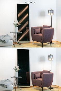 Ambiloom® Mirror 1700 ist ein moderner Ganzkörperspiegel mit ambienter Beleuchtung. Aus der Verschmelzung von Licht und Textil entstehen unvergleichliche Lichteffekte in der Spiegelung. Das verleiht dem Design Spiegel weitaus mehr als elegante Funktionalität. Angeschaltet ist er ein Stück Wandkunst, das Ihrem Wohnzimmer noch mehr Wohlfühlcharakter verleiht. #ambiloom #ettlinlux #ganzkörperspiegel #beleuchtung #lichtspiegel #wohnzimmer #wohnzimmerideen Eames, Lounge, Mirror, Chair, Furniture, Design, Home Decor, Indirect Lighting, Modern Full Length Mirrors