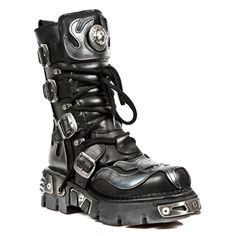 New Rock Style M.107-S2 Demon Flames Boots (Black)