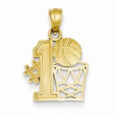14k Yellow Gold #1 Basketball with Hoop Pendant