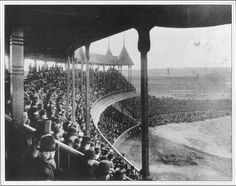 Baseball history photo: Photo taken on Opening Day of the Grand Pavilion of South End Grounds, Boston, May 25, 1888, by Augustine H. Folsom.  The dimensions of the outfield were 250 feet from home base in left field, 445 feet in left center, 500 feet to straight away center field, 440 feet in right center and 255 feet in right field.  This majestic park was a casualty of the Great Roxbury Fire on May 16, 1894.  The fire started in the right field bleachers in the bottom of the third inning…