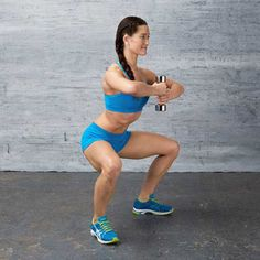 Work your butt, quads, inner thighs, and hamstrings in the Goblet Squat #exercise from the Love Your Legs #workout.