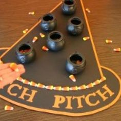 You could do something like this for you festival! Witch Pitch {Games for Halloween}. We have to do this at the halloween party! Halloween Tags, Halloween Carnival Games, Halloween Games For Kids, Theme Halloween, Halloween Birthday, Holidays Halloween, Halloween Crafts, Happy Halloween, Halloween Decorations