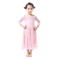 Baby Girl Party Dress Pink Flower Girl Dresses Princess Dress Lace Satin Wedding Dresses For Girls Kids Clothes Long Sleeve