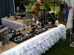 The Greeley Girls jewelry and hand made ruffle table cloth with burlap