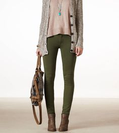 American Eagle | AE KNIT JEGGING | STYLE: 0327-8241 | COLOR: 348 (Green Forest) | $39.95 | Size 2 Short